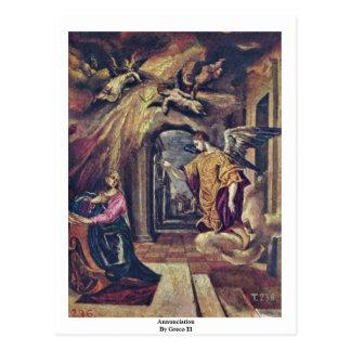 Annunciation By Greco El Postcard