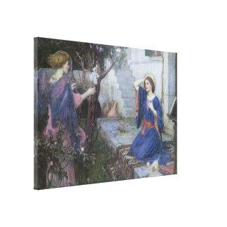 Annunciation by JW Waterhouse, Victorian Fine Art Canvas Print