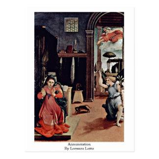 Annunciation By Lorenzo Lotto Postcard