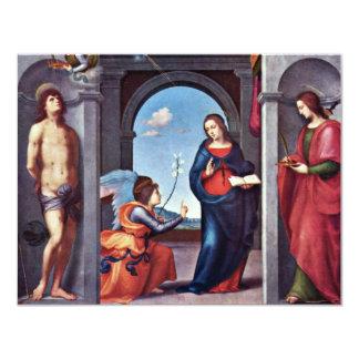 Annunciation By Mariotto Albertinelli (Best Qualit 11 Cm X 14 Cm Invitation Card