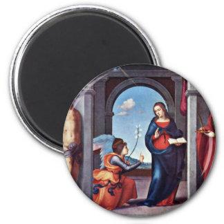 Annunciation By Mariotto Albertinelli (Best Qualit 6 Cm Round Magnet