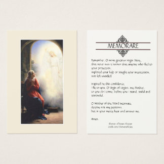Annunciation of Mary Memorare Prayer Holy Cards
