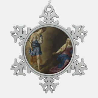 Annunciation of Mary, Velde Snowflake Pewter Christmas Ornament