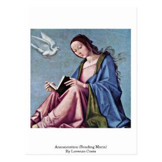 Annunciation (Reading Maria) By Lorenzo Costa Postcard