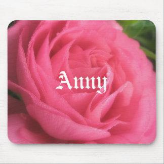 Anny Blush Pink Floral Girls Name Mousepad