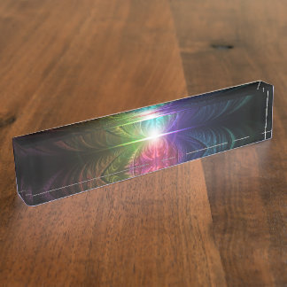 Anodized Rainbow Eyes and Metallic Fractal Flares Name Plate