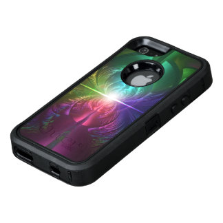 Anodized Rainbow Eyes and Metallic Fractal Flares OtterBox Defender iPhone Case