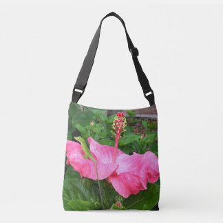 Anole Lizard On Pink Hibiscus Photograph Crossbody Bag