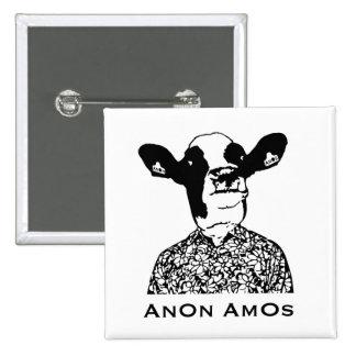AnOn AmOs - Designer Cow 15 Cm Square Badge