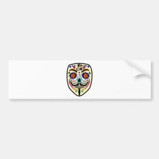 ANONYMOUS Day of the Dead 4 Anon Mask Sugar skull Bumper Sticker