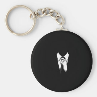 Anonymous Suit and Tie Basic Round Button Key Ring