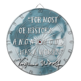 Anonymous Was a Woman ~ Virginia Woolf quote blue Dartboard