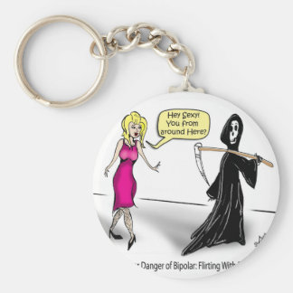 Another Danger of Bipolar: Flirting With Death Basic Round Button Key Ring