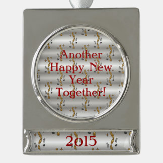 Another Happy New Year Together Confetti - Dated Silver Plated Banner Ornament