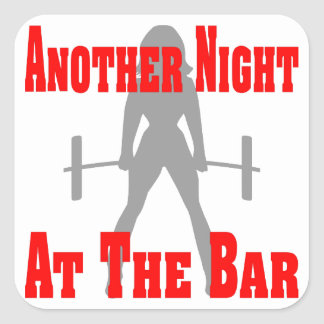 Another Night At The Bar Female Weightlifting Square Sticker