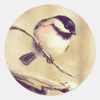 ANOTHER SMALL CHICKADEE by SHARON SHARPE Round Sticker
