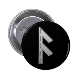 Ansuz Rune grey 6 Cm Round Badge