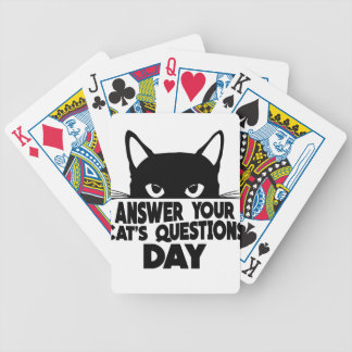 Answer Your Cat's Questions Day Bicycle Playing Cards
