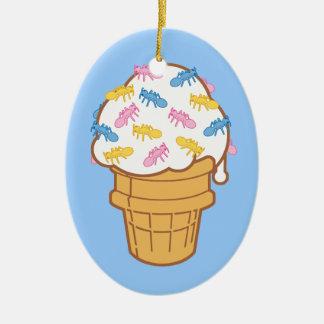 Ant Ice Cream Ceramic Ornament