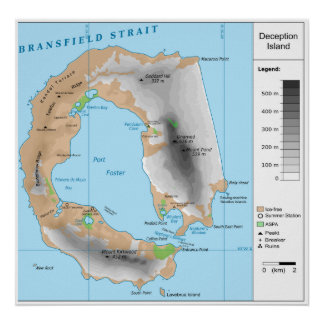 Antarctic South Shetland Map of Deception Island Poster