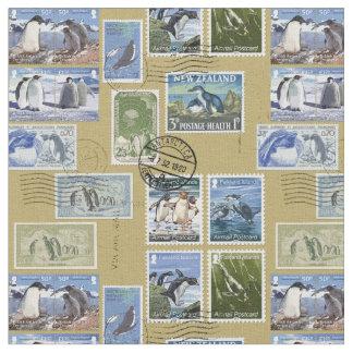 Antarctica - Penguin Postage Stamps Fabric