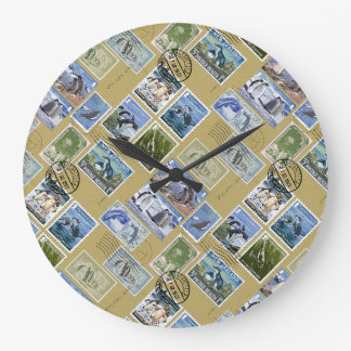Antarctica - Penguin Postage Stamps Wallclocks