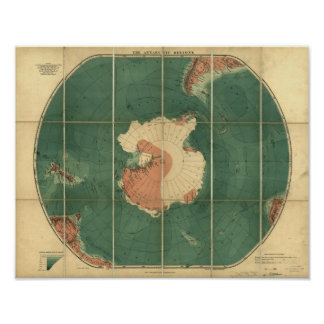 Antarctica Regions Antique Map 1922 Poster