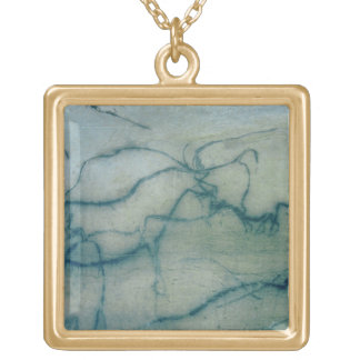 Antelope and bison, Perigordian (cave painting) Gold Plated Necklace