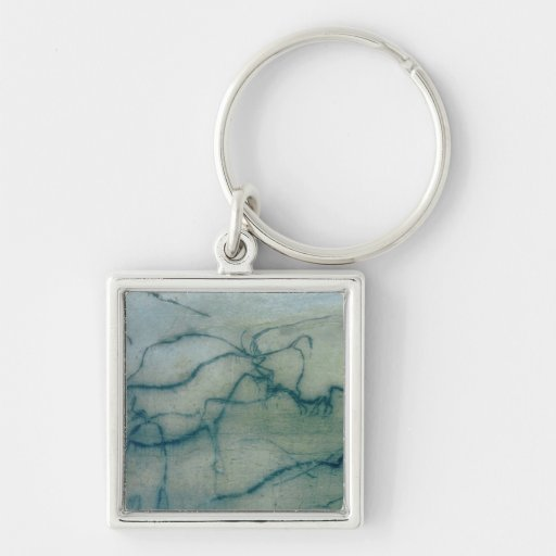 Antelope and bison, Perigordian (cave painting) Key Chain