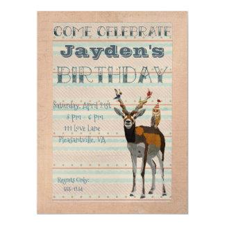 ANTELOPE & FEATHERS Birthday Invitation