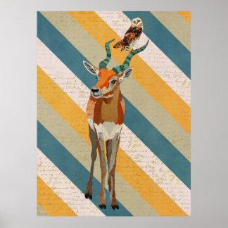 ANTELOPE & OWL Art Poster