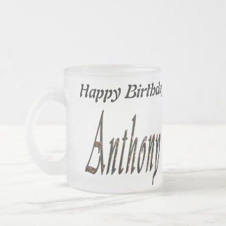 Anthony Name Logo, Frosted Glass Coffee Mug