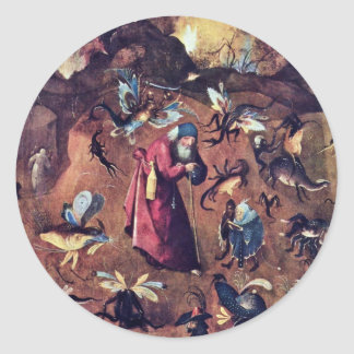 Anthony With Monsters. By Hieronymus Bosch Classic Round Sticker