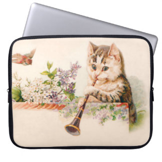 Anthropomorphic Cat Playing Horn - Vintage Art Computer Sleeve