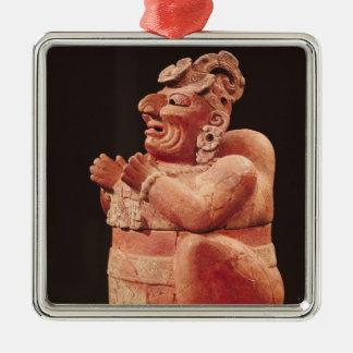 Anthropomorphic censer, from Guatemala Silver-Colored Square Decoration