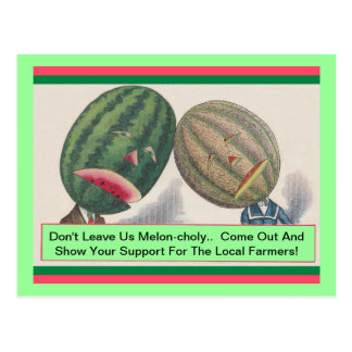 ANTHROPOMORPHIC Melons Pun Produce POSTCARD