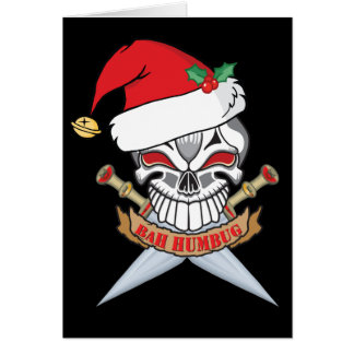 Anti-Christmas Santa Pirate  Skull Card