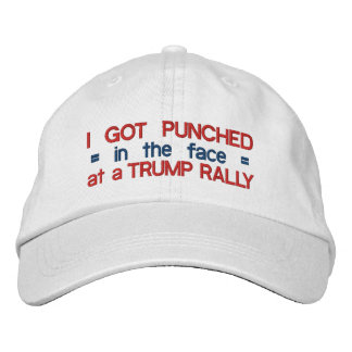 Anti Donald Trump Funny Punched in Face Political Embroidered Hats