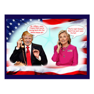 Anti-Donald Trump phone conversation. Postcard