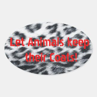 Anti-Fur Leopard Print Oval Sticker