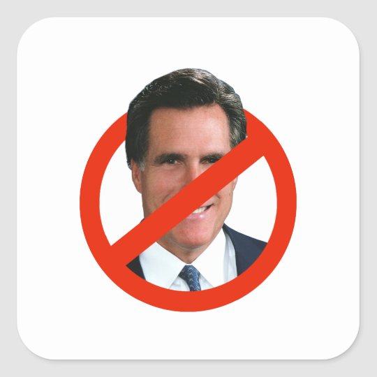ANTI MITT ROMNEY SQUARE STICKER