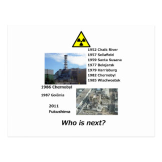 """Anti nuclear power postcard """"Who is next?"""""""