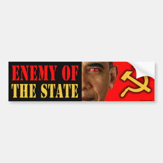 "anti Obama ""Enemy Of The State"" bumper sticker"