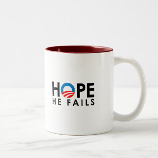 Anti-Obama - Hope he fails black Two-Tone Mug