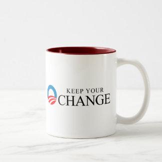Anti-Obama - Keep your change black Two-Tone Mug