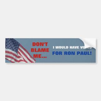 Anti Obama My Vote is for Ron Paul Political Bumper Sticker