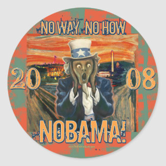 Anti Obama No Way No How Nobama Round Stickers