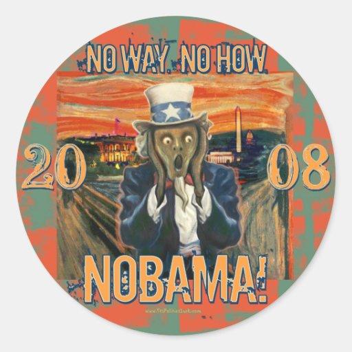 Anti Obama No Way No How Nobama Round Stickers
