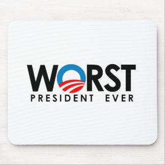 Anti-Obama - Worst President Ever black Mouse Pad