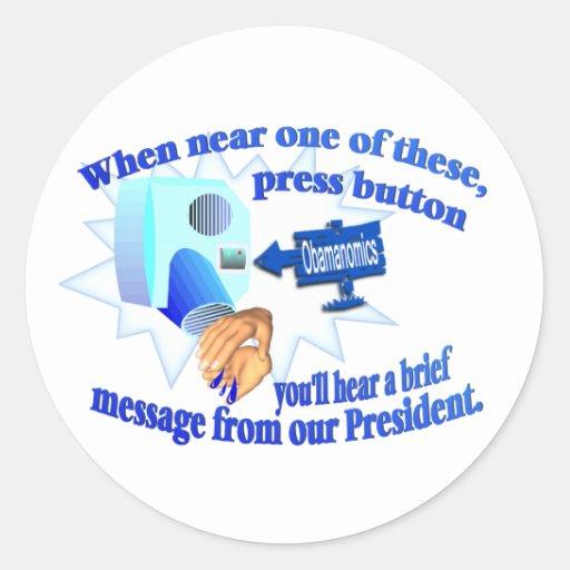 Anti Obamanomics – Obamanomics is Hurting America! Round Sticker